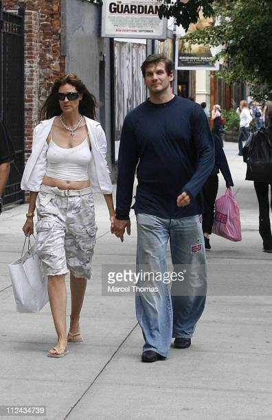 Carol Alt and Alexi Yashin during Carol Alt and Alexi Yashin Sighting in SOHO August 26 2006 at SoHo in New York City United States