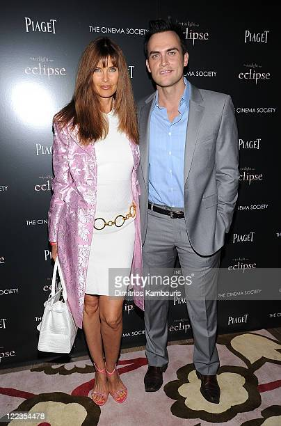 Carol Alt and Cheyenne Jackson attend The Cinema Society Piaget host a screening of The Twilight Saga Eclipse at the Crosby Street Hotel on June 28...