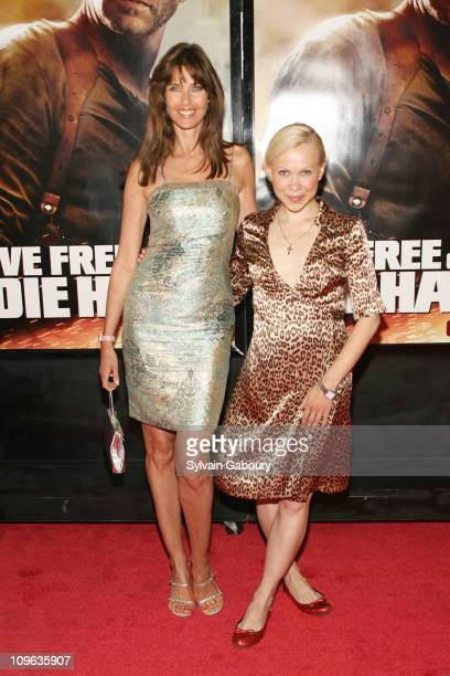 Carol Alt and Oksana Baiul during Live Free or Die Hard New York City Primiere Arrivals at Radio City Music Hall at 1260 Avenue of the Americas in...