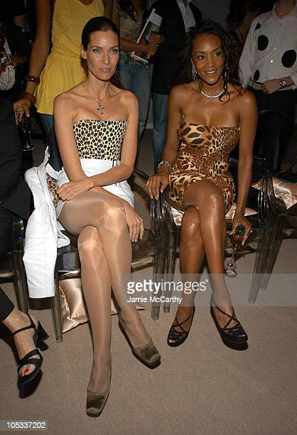 Carol Alt and Vivica A Fox during Olympus Fashion Week Spring 2005 Lloyd Klein Front Row at Plaza Tent Bryant Park in New York City New York United...