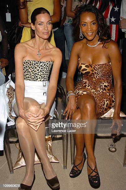 Carol Alt and Vivica A Fox during Olympus Fashion Week Spring 2005 Lloyd Klein Backstage and Front Row at Plaza Tent Bryant Park in New York City New...
