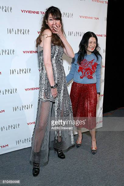 Carol Alt and Vivienne Tam pose backstage at the Vivienne Tam Fall 2016 fashion show during New York Fashion Week: The Shows at The Arc, Skylight at...
