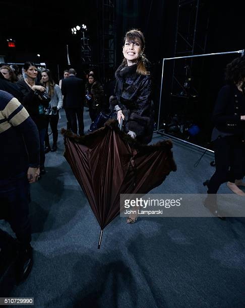 Carol Alt attends Dennis Basso Fall 2016 show New York Fashion Week: The Shows at The Arc, Skylight at Moynihan Station on February 16, 2016 in New...