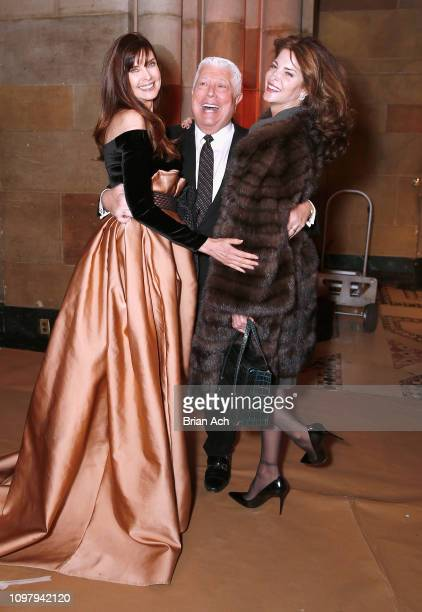 Carol Alt Dennis Basso and Stephanie Seymour pose backstage for Dennis Basso fashion show during New York Fashion Week The Shows at Cipriani 42nd...