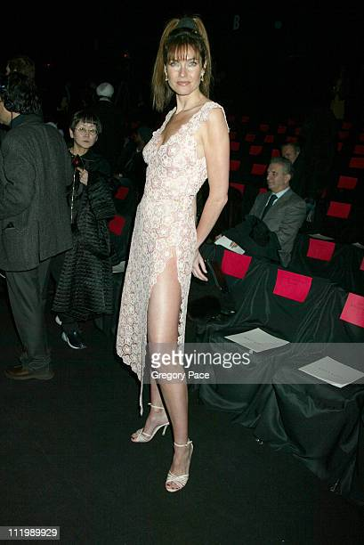 Carol Alt wearing Luca Luca during Luca Luca Fall Winter 2003 Show at The Tent at Bryant Park in New York NY United States