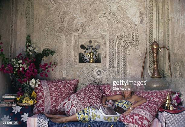 Carol Anderson who works in catering at the Peponi Hotel visits the 18th century Kisimani House on Lamu Island in the Lamu Archipelago of Kenya...