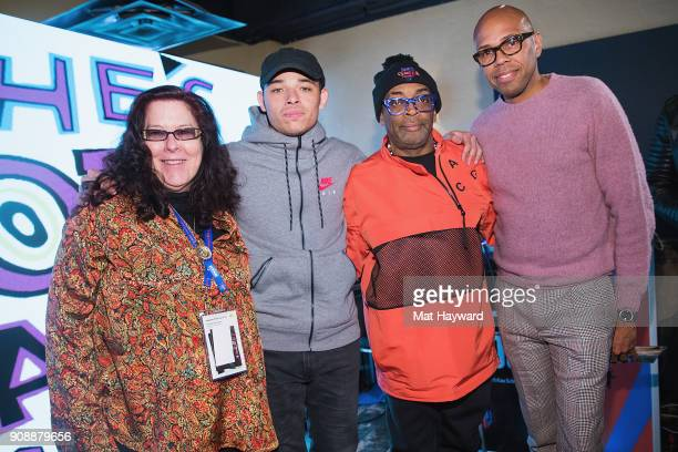 Carol Ann Shine Anthony Ramos Spike Lee and Brickson Diamond pose for a photo during the 'She's Gotta Have It' brunch sponsored by Netflix at Buona...