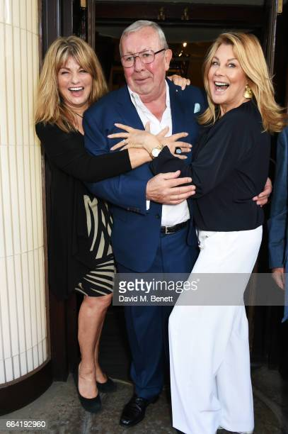 Carol Ashby Richard Shepherd and Jilly Johnson attend a party celebrating 40 years of Langan's Brasserie on April 3 2017 in London England