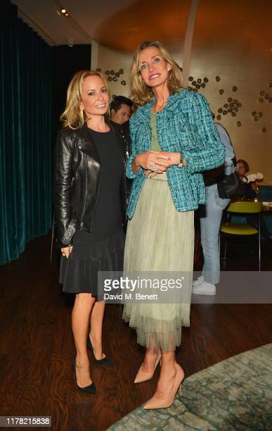 Carol Asscher and Marie Moatti attend dinner at Nobu for the KAWS BLACKOUT exhibition private view at Skarstedt on September 30 2019 in London England
