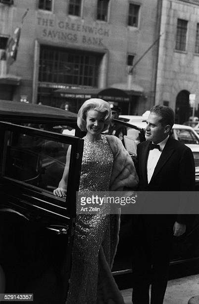 Carol Baker with her husband Jack Garfein getting out of a limousine circa 1970 New York