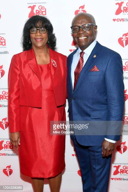Carol Benjamin and Ivor Benjamin attend The American Heart Association's Go Red for Women Red Dress Collection 2020 at Hammerstein Ballroom on...
