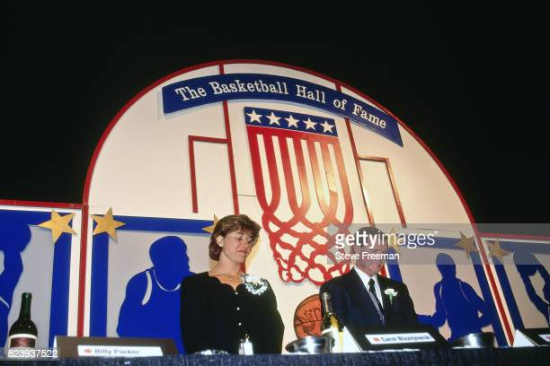 Carol Blazejowski and Denny Crum pose for a photo before their induction into the Naismith Memorial Basketball Hall of Fame Class of 1994 on May 10...