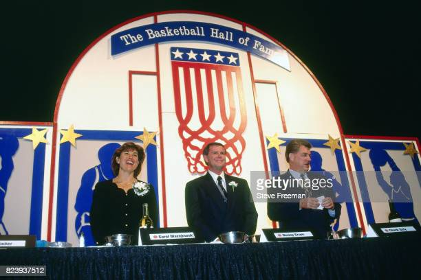 Carol Blazejowski Denny Crum and Chuck Daly pose for a photo before their induction into the Naismith Memorial Basketball Hall of Fame Class of 1994...