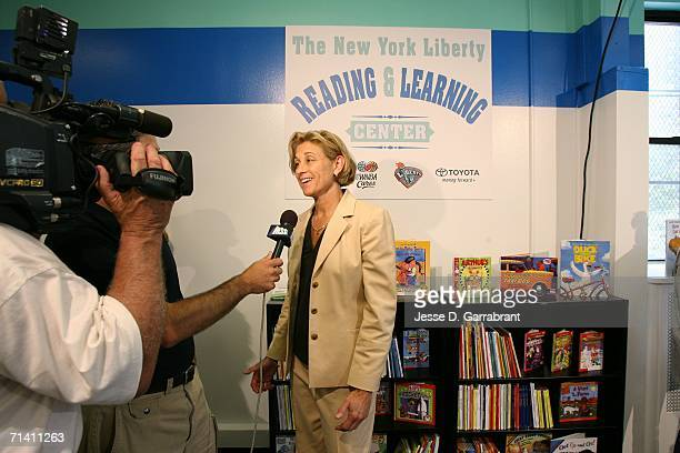 Carol Blazejowski general manager of the New York Liberty speaks during a WNBA Cares AllStar event at Life Shelter on July 10 2006 in New York City...