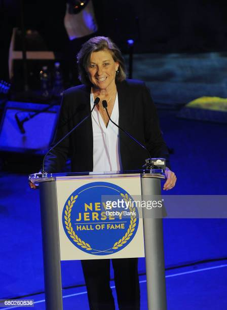 Carol Blazejowski receives the Sports Award at the 2017 New Jersey Hall Of Fame Induction Ceremony at Asbury Park Convention Center on May 7 2017 in...