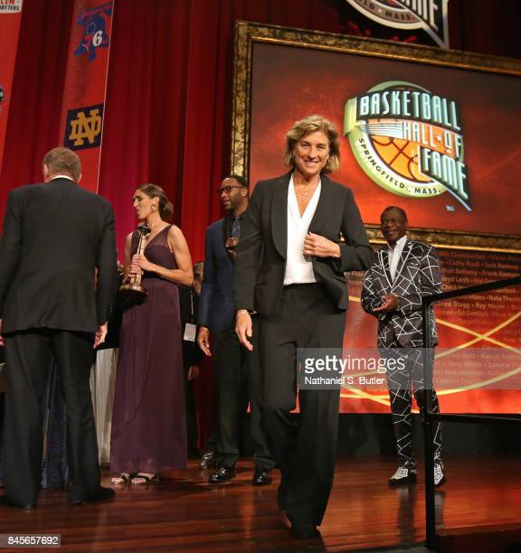 Carol Blazejowski walks off the stage after the 2017 Basketball Hall of Fame Enshrinement Ceremony on September 8 2017 at the Naismith Memorial...
