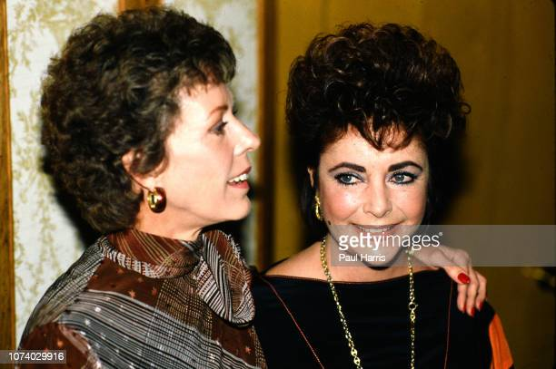 Carol Burnett and Elizabeth Taylor appear at a press conference for the release of Between Friends madefortelevisiondrama filmbased on the 1975...