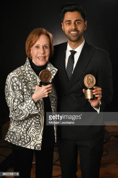 Carol Burnett and Hasan Minhaj pose with Peabody Awards at The 77th Annual Peabody Awards Ceremony at Cipriani Wall Street on May 19, 2018 in New...