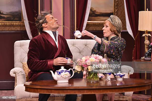 """Carol Burnett and Jimmy Fallon perform a skit during a taping of """"The Tonight Show Starring Jimmy Fallon"""" at Rockefeller Center on October 6, 2014 in..."""