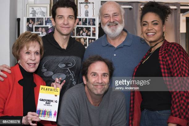 "Carol Burnett, Andy Karl, Danny Rubin, Rob Reiner and Barrett Doss backstage attend ""Groundhog Day"" on Broadway at August Wilson Theatre on May 16,..."