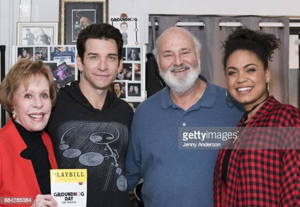 Carol Burnett Andy Karl Rob Reiner and Barrett Doss backstage attend Groundhog Day on Broadway at August Wilson Theatre on May 16 2017 in New York...