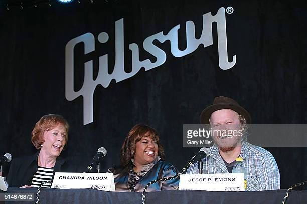 Carol Burnett Chandra Wilson and Jesse Plemons attend a press conference promoting the Austin Film Society's Texas Film Awards at the Gibson Showroom...