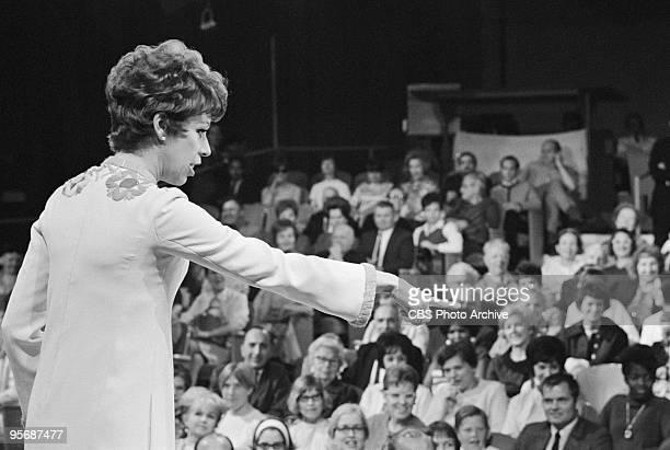 Carol Burnett interacting with the audience on THE CAROL BURNETT SHOW, April 5, 1968.