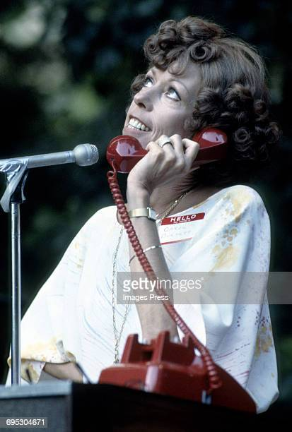 Carol Burnett perform a comedy skit at a fundraiser in a private Beverly Hills residence circa 1979