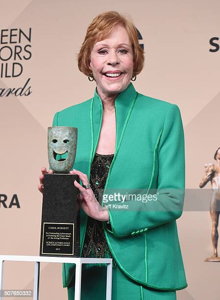 Carol Burnett recipient of the 52nd Annual SAG Life Achievement Award poses in the press room during the 22nd Annual Screen Actors Guild Awards at...