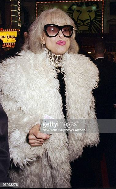Carol Channing arrives at opening of the musical Ragtime at the Ford Center for the Performing Arts