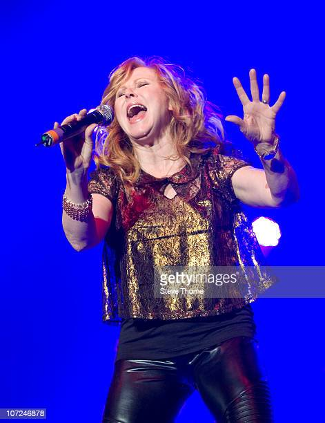 Carol Decker of T'Pau performs on stage during 80's Rewind Tour at LG Arena on November 30, 2010 in Birmingham, England.