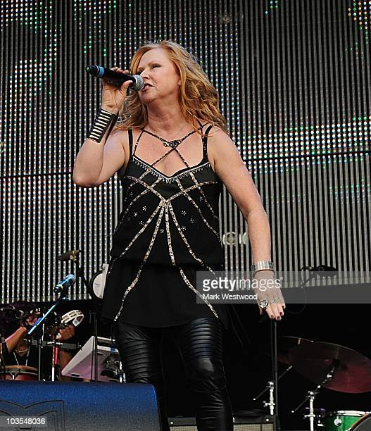 Carol Decker of T'Pau performs on stage during the second day of 80's Rewind Festival at Temple Island Meadows on August 21 2010 in HenleyonThames...