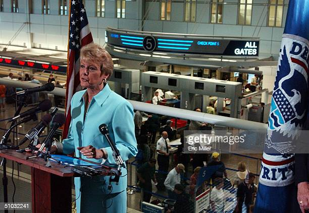 Carol DiBatteste Chief of Staff of the Transportation Security Administration speaks at a press conference at the MinneapolisSt Paul International...