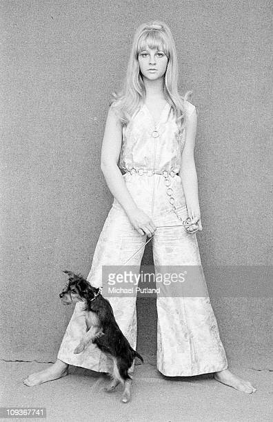 Carol Dilworth actress and hostess of the Golden Shot TV gameshow poses with dog London 1966