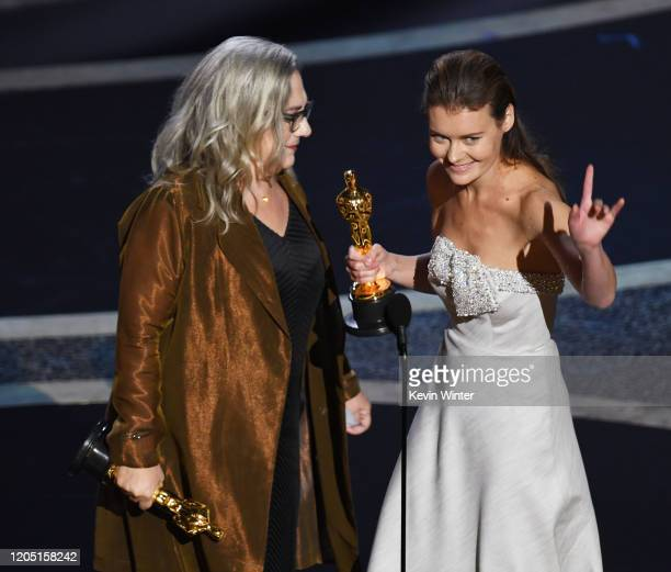 Carol Dysinger and Elena Andreicheva accept the Documentary Short Subject award for 'Learning to Skateboard in a Warzone If You're a Girl' onstage...