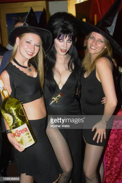 Carol Egan Elvira and Dawn Church during Elvira's PreParty for Elvira's Haunted Hills in New York City New York United States