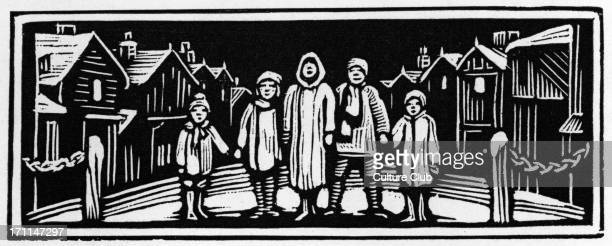 'A carol for Christmas Eve' from 'Come Christmas' by Eleanor Farjeon English author 13 February 1881 – 5 June 1996 Wood cutting by Molly McArthur