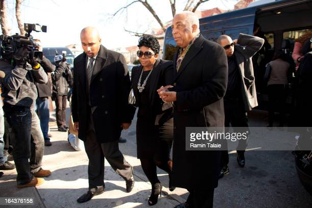 Carol Gray , mother of Kimani Gray is escorted by City Councilman Charles Barron and family members as she arrives for her son's funeral at St....