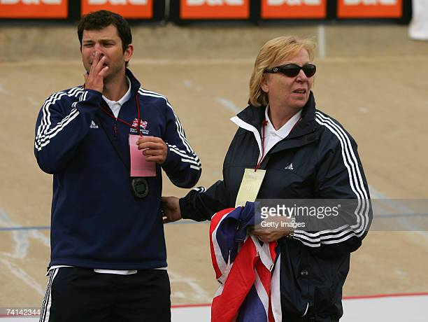 Carol Hoy and Scott Gardner a sports scientist realise that Chris Hoy of Great Britain has just narrowly failed in his attempt to break the World 1...