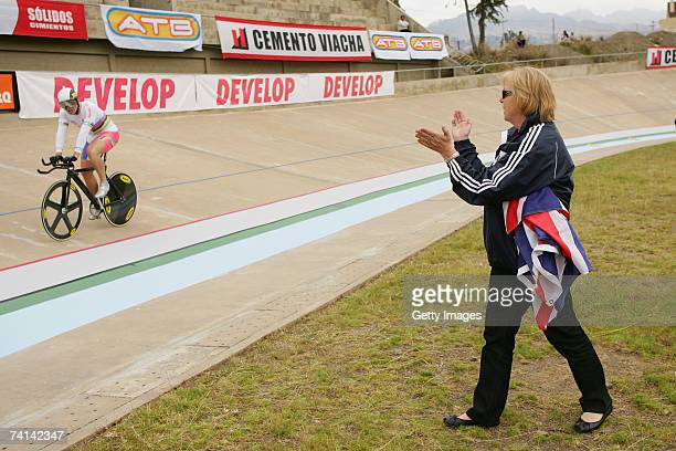 Carol Hoy applauds her son Chris Hoy of Great Britain after his failed attempt to break the World 1 Kilometre Altitude Record at the Alto Irpavi...