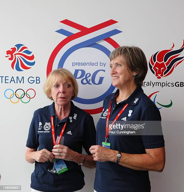 Carol Hoy mother of Sir Chris Hoy of Team GB and Pat Radcliffe mother of Paula Radcliffe of Team GB visits the PG Nearest and Dearest Zone in Team GB...