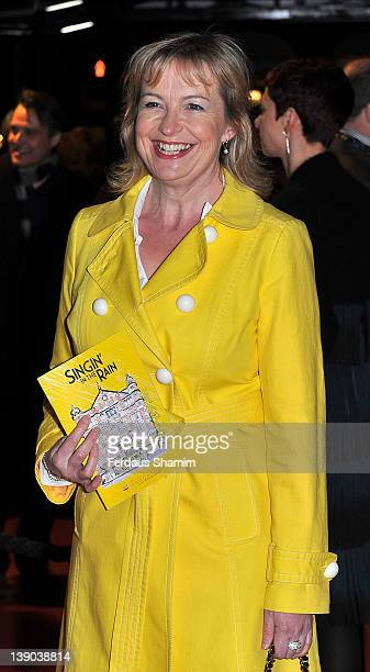 Carol Kirkwood attends the opening night of the theatre production 'Singin' In The Rain' at Palace Theatre on February 15 2012 in London England