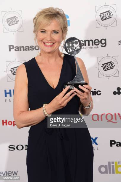 Carol Kirkwood poses in the winners room with the award for Weather Presenter at the TRIC Awards 2017 at The Grosvenor House Hotel on March 14 2017...