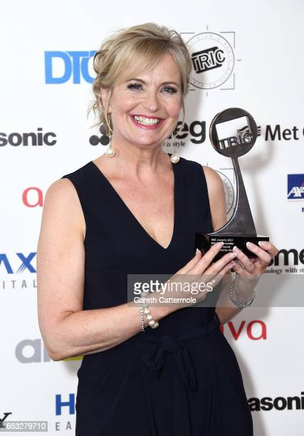 Carol Kirkwood with the award for Weather Presenter during the TRIC Awards 2017 at the Grosvenor House Hotel on March 14 2017 in London England
