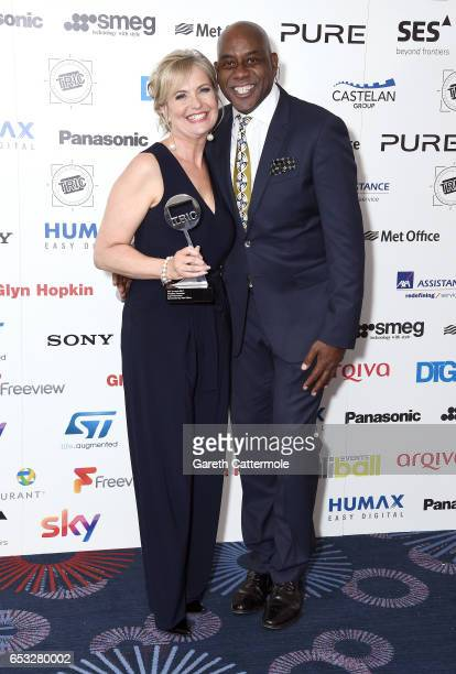 Carol Kirkwood with the award for Weather Presenter with Ainsley Harriott during the TRIC Awards 2017 at the Grosvenor House Hotel on March 14 2017...
