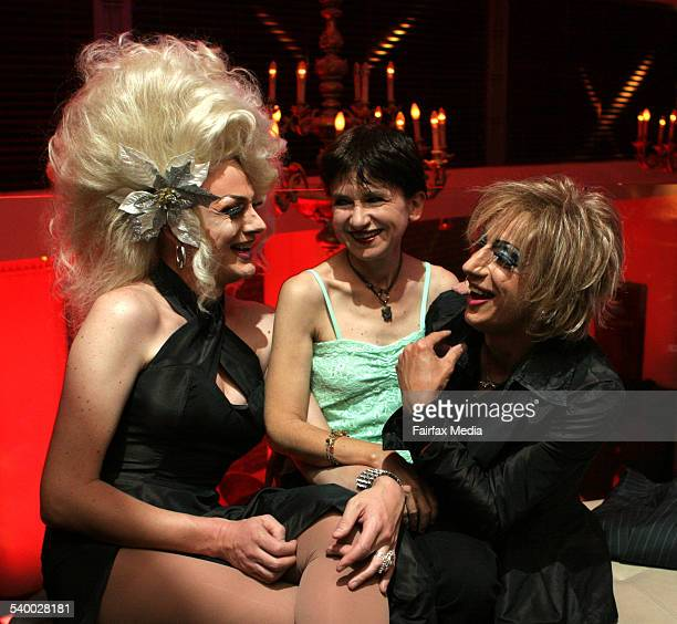 Carol Langley centre with drag queens Verushka Darling left and Claire de Lune has written a book on drag queen culture 3 May 2006 SHD NEWS Picture...