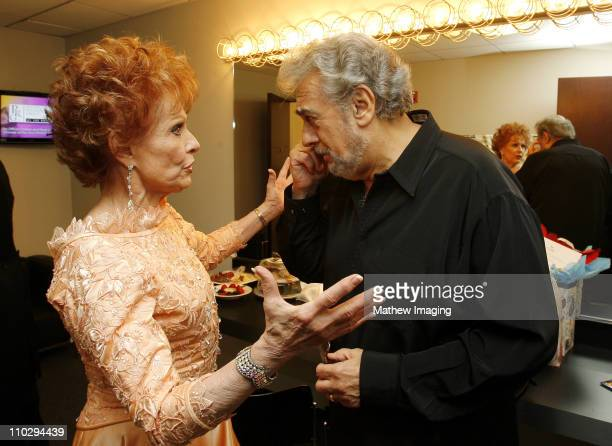 Carol Lawrence and Placido Domingo during The 8th Annual Hollywood Bowl Hall of Fame Backstage at The Hollywood Bowl in Hollywood California United...