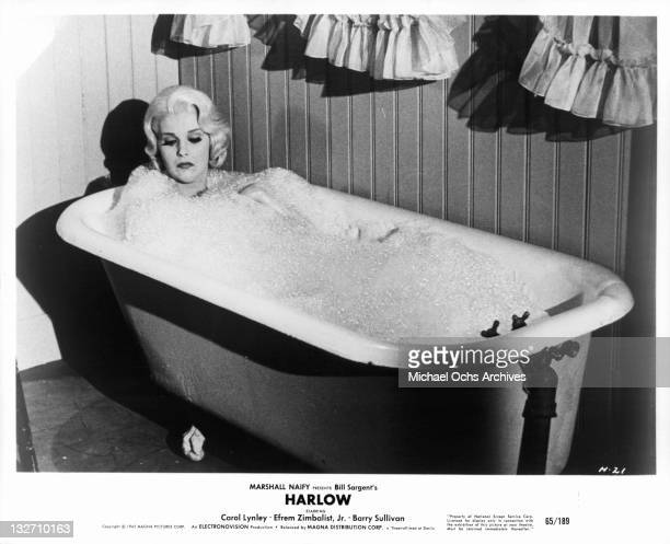 Carol Lynley taking a bath in a scene from the film 'Harlow' 1965
