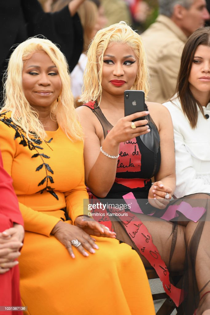 Carol Maraj (L) and Nicki Minaj attend the Oscar De La Renta front Row during New York Fashion Week: The Shows at Spring Studios Terrace on September 11, 2018 in New York City.