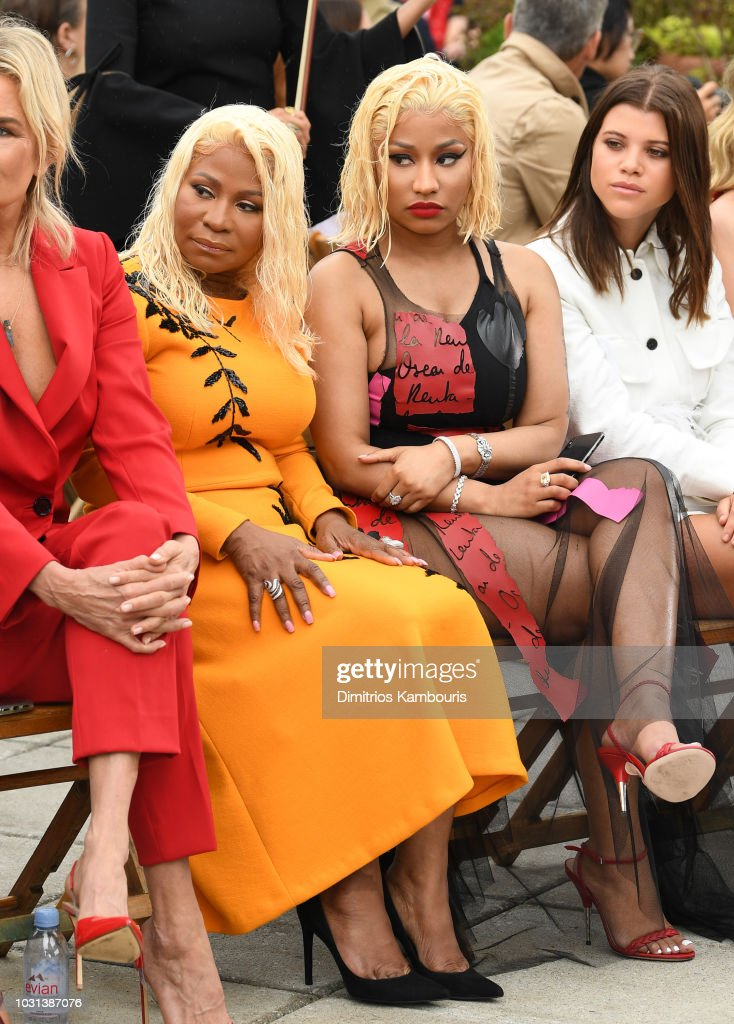 Carol Maraj, Nicki Minaj and Sofia Richie attend the Oscar De La Renta front Row during New York Fashion Week: The Shows at Spring Studios Terrace on September 11, 2018 in New York City.